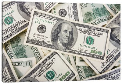 American Hundred Dollar Bills Canvas Art Print