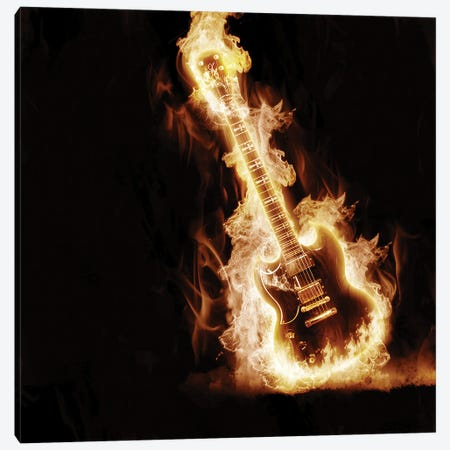 Electronic Guitar Enveloped In Flames Canvas Print #DPT291} by SergeyNivens Canvas Artwork