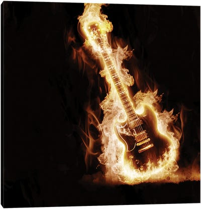 Electronic Guitar Enveloped In Flames Canvas Art Print