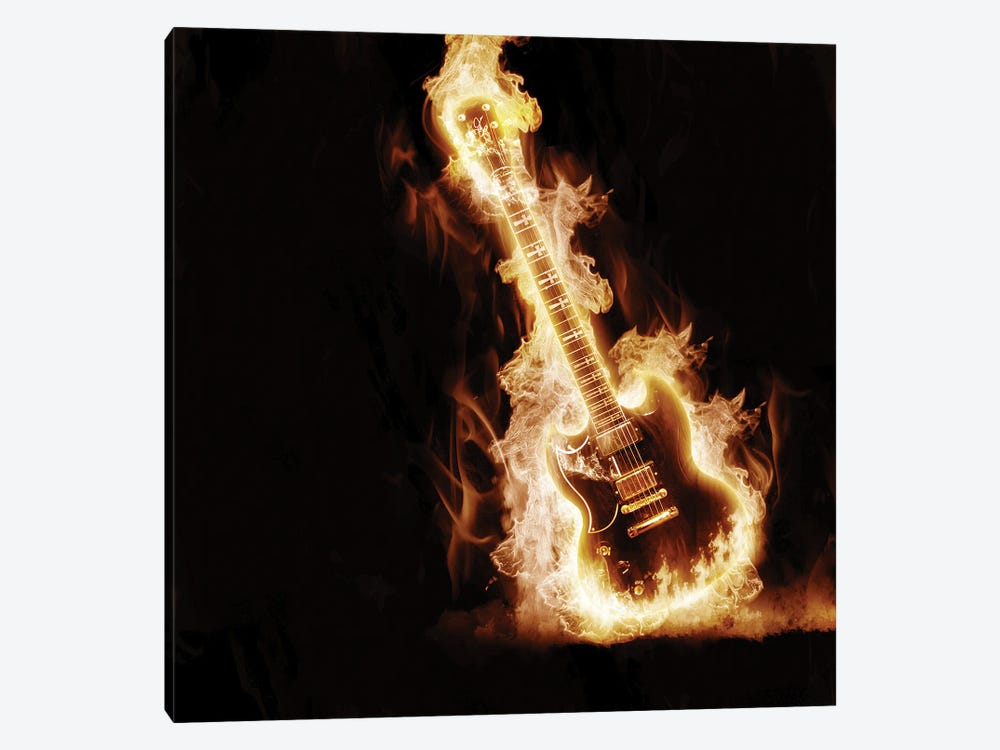 Electronic Guitar Enveloped In Flames by SergeyNivens 1-piece Canvas Wall Art