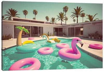 Different Floats In A Pool II Canvas Art Print