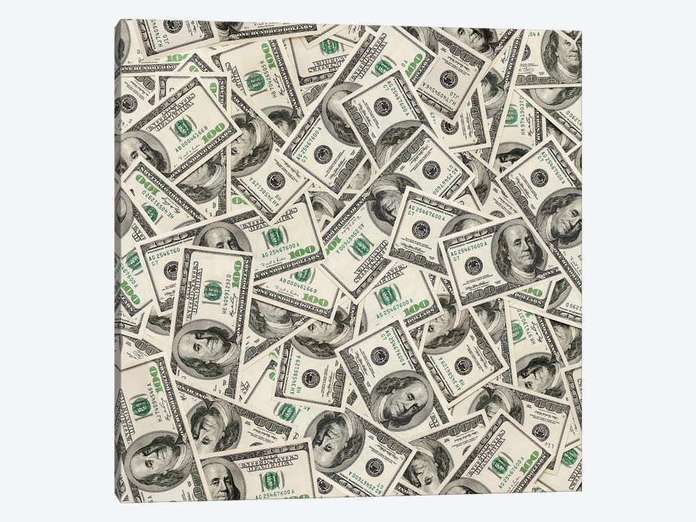 Dollars Seamless Background by ultrapro 1-piece Canvas Art Print