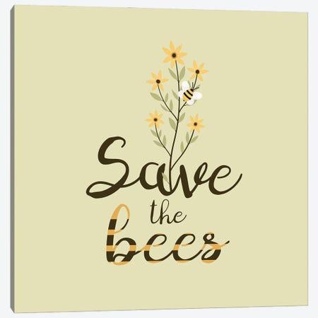 Save The Bees Flower Bouquet Canvas Print #DPT307} by usmanovairina Canvas Print