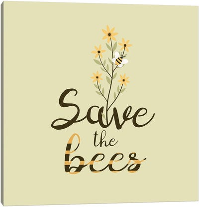 Save The Bees Flower Bouquet Canvas Art Print