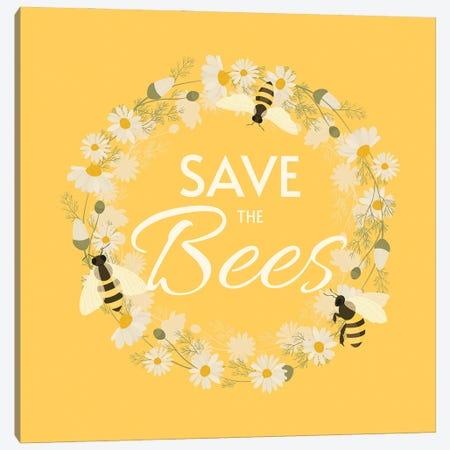 Save The Bees Design Wreath 3-Piece Canvas #DPT308} by usmanovairina Canvas Artwork