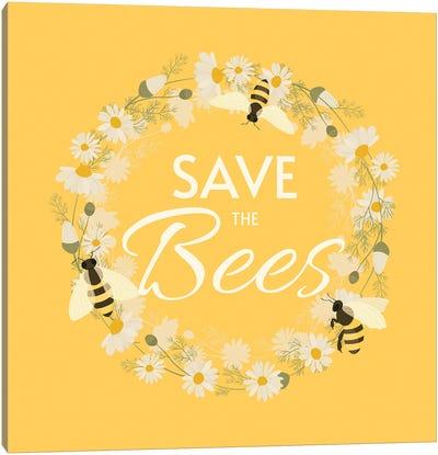 Save The Bees Design Wreath Canvas Art Print