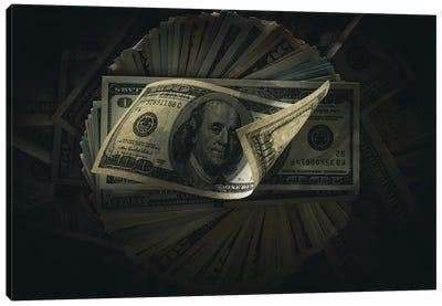 One Hundred Dollar Banknotes On Dark Canvas Art Print