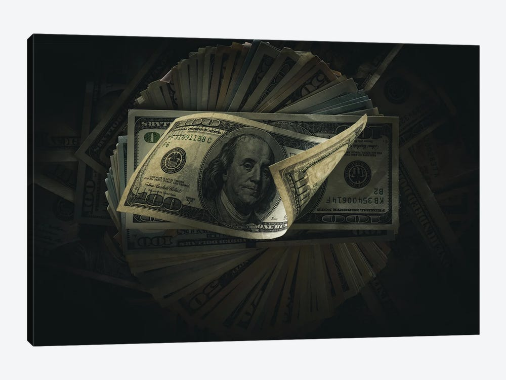 One Hundred Dollar Banknotes On Dark by VadimVasenin 1-piece Canvas Art