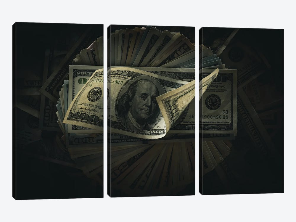 One Hundred Dollar Banknotes On Dark by VadimVasenin 3-piece Canvas Art
