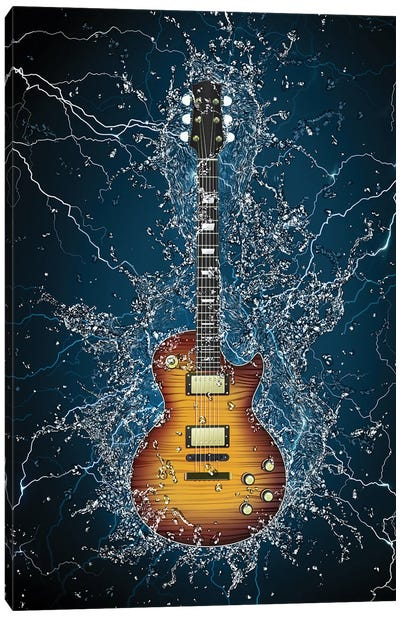 Electric Guitar Splash Canvas Art Print