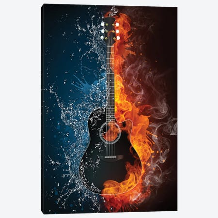Acoustic Guitar Fire And Water Canvas Print #DPT315} by VisualGeneration Canvas Wall Art
