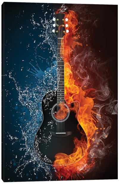 Acoustic Guitar Fire And Water Canvas Art Print