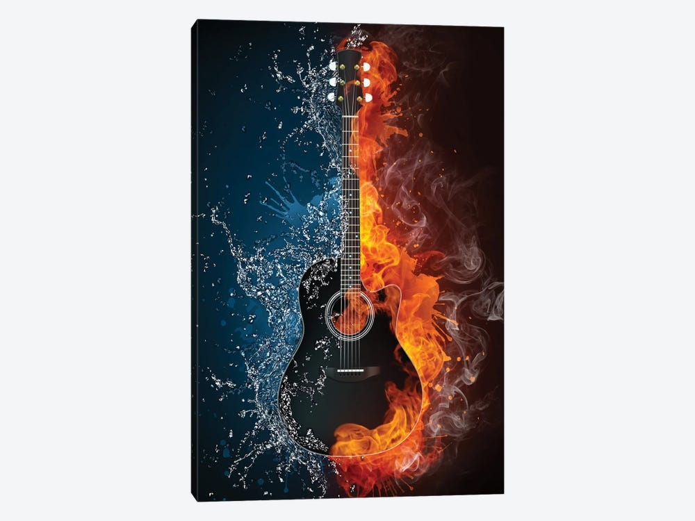 Acoustic Guitar Fire And Water by VisualGeneration 1-piece Art Print