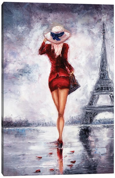 Woman In Paris Canvas Art Print