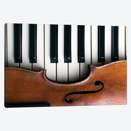 Old Violin On Piano Keys Canvas Print #DPT320} by zoldatoff Canvas Wall Art