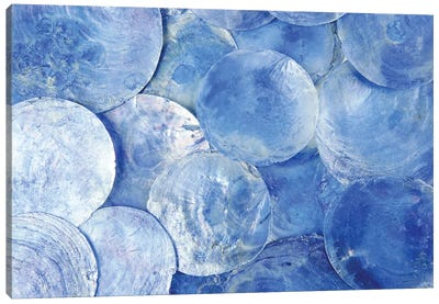 Mother Of Pearl Blue Round Circle Pattern Canvas Art Print
