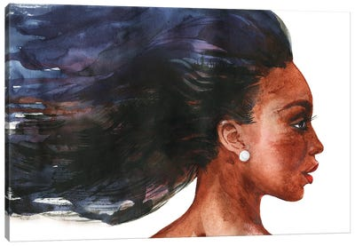 Watercolor Beauty African Woman On White Background Canvas Art Print