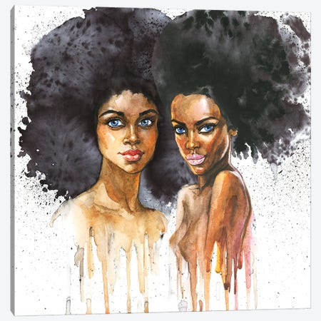 Watercolor Beauty African Women On White Background Canvas Print #DPT34} by Cincinart Canvas Wall Art