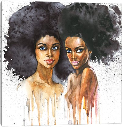 Watercolor Beauty African Women On White Background Canvas Art Print