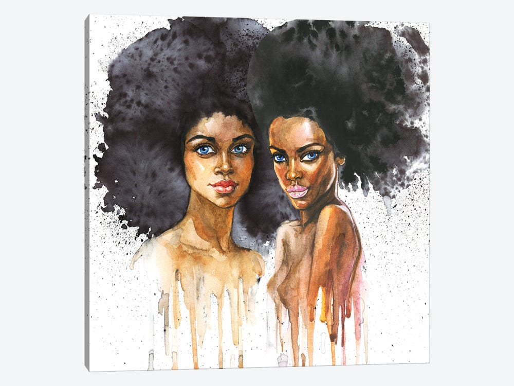 Watercolor Beauty African Women On White Background by Cincinart 1-piece Canvas Art