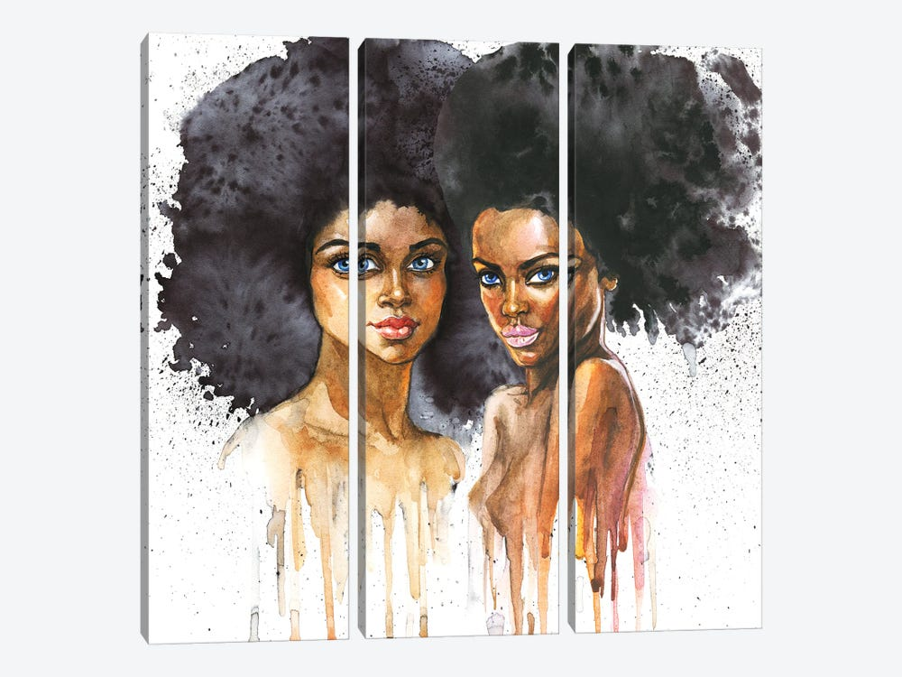 Watercolor Beauty African Women On White Background by Cincinart 3-piece Canvas Wall Art
