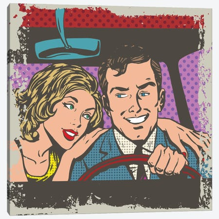 Man And Woman In The Car Pop Art Comics Retro Style Halftone Canvas Print #DPT374} by Depositphotos Canvas Art