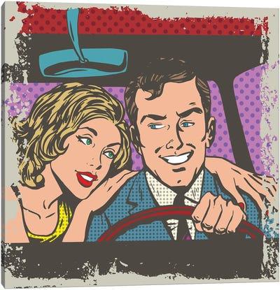 Man And Woman In The Car Pop Art Comics Retro Style Halftone Canvas Art Print