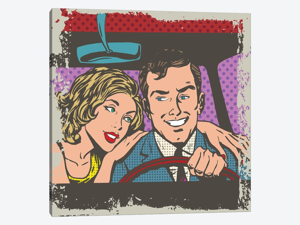 Man And Woman In The Car Pop Art Comics Retro Style Halftone by Depositphotos 1-piece Canvas Artwork