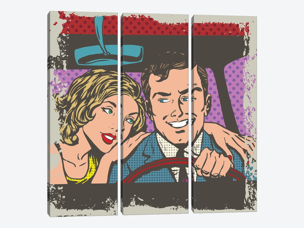 Man And Woman In The Car Pop Art Comics Retro Style Halftone by Depositphotos 3-piece Canvas Artwork