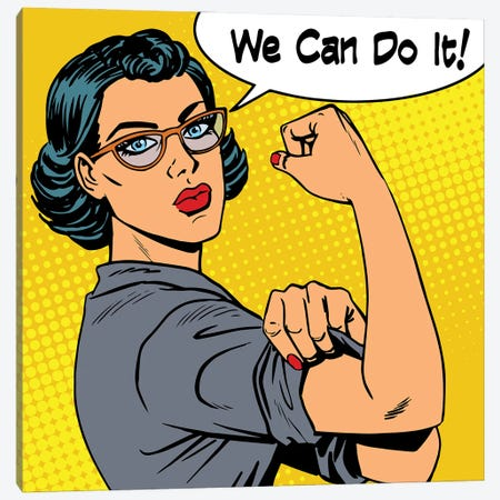 Woman With Glasses We Can Do It The Power Of Feminism Canvas Print #DPT376} by Depositphotos Canvas Art