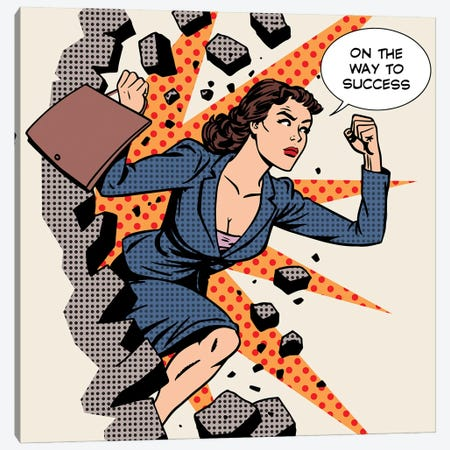 Business Success Businesswoman Breaks The Wall Canvas Print #DPT377} by Depositphotos Canvas Artwork