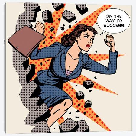 Business Success Businesswoman Breaks The Wall Canvas Print #DPT377} by Depositphotos Canvas Artwork