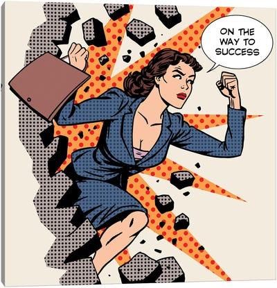 Business Success Businesswoman Breaks The Wall Canvas Art Print