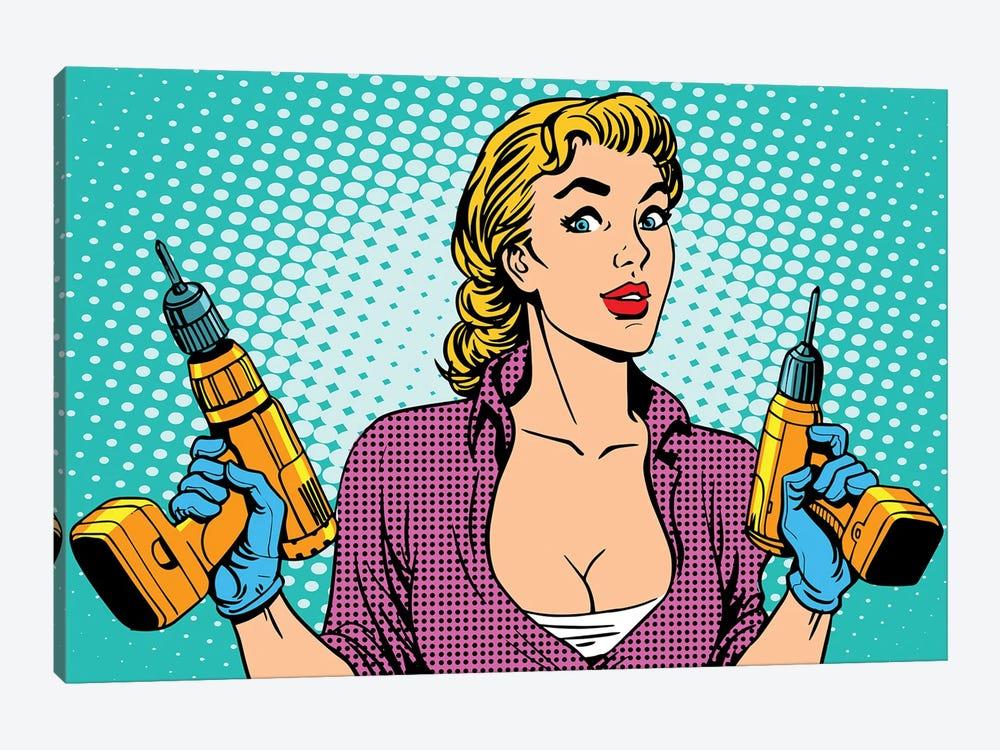 Girl Worker Drill Repair by Depositphotos 1-piece Canvas Artwork