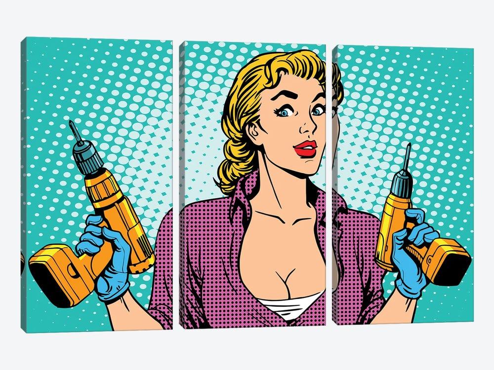 Girl Worker Drill Repair by Depositphotos 3-piece Canvas Art