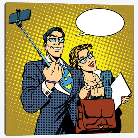 Selfie Stick Businessman And Businesswoman Photo Smartphone Canvas Print #DPT379} by Depositphotos Art Print
