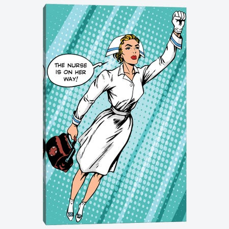 Super Hero Nurse Flies To The Rescue Canvas Print #DPT380} by Depositphotos Canvas Art