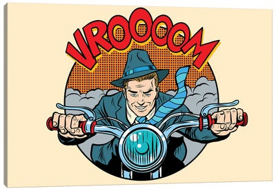 Motorcyclist Rider Biker Man Canvas Art Print