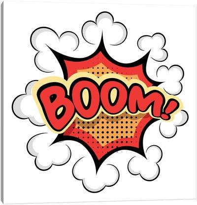 Colored Cartoon Explosion Boom! Cartoon Explosion On A White Bac Canvas Art Print