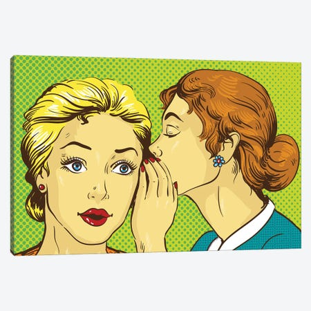 Pop Art Retro Comic Vector Illustration. Woman Whispering Gossip Or Secret To Her Friend Canvas Print #DPT388} by Depositphotos Canvas Art
