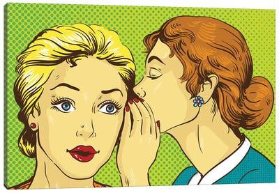 Pop Art Retro Comic Vector Illustration. Woman Whispering Gossip Or Secret To Her Friend Canvas Art Print