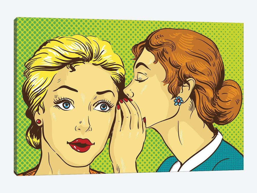Pop Art Retro Comic Vector Illustration. Woman Whispering Gossip Or Secret To Her Friend by Depositphotos 1-piece Canvas Print