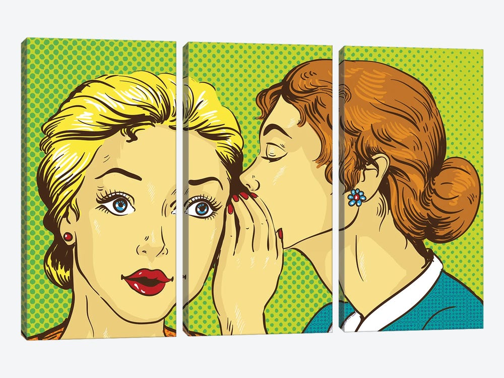 Pop Art Retro Comic Vector Illustration. Woman Whispering Gossip Or Secret To Her Friend by Depositphotos 3-piece Canvas Print