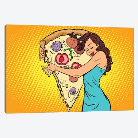 Woman Hugging A Pizza Canvas Print #DPT397} by Depositphotos Canvas Wall Art