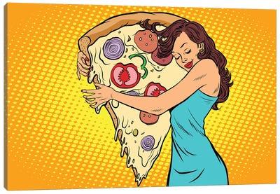 Woman Hugging A Pizza Canvas Art Print