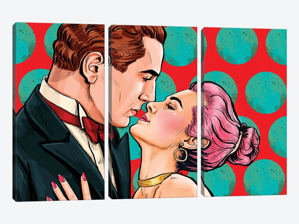 Love Couple Looking Into Each Others Eyes In Pop Art Style. Vintage Man And Woman Are Kissing And Hugging by Depositphotos 3-piece Canvas Wall Art