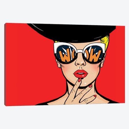 Pop Art Thinking Woman In Black Hat In Glasses.Wow Female Face.Saxy Amazed Yong Girl With Open Mouth Canvas Print #DPT399} by Depositphotos Canvas Print