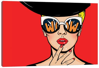 Pop Art Thinking Woman In Black Hat In Glasses.Wow Female Face.Saxy Amazed Yong Girl With Open Mouth Canvas Art Print