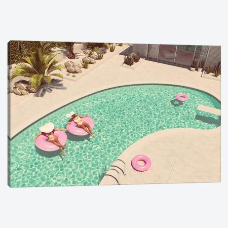 Women Swimming On Float In A Pool. 3D Rendering Canvas Print #DPT3} by 2mmedia Art Print