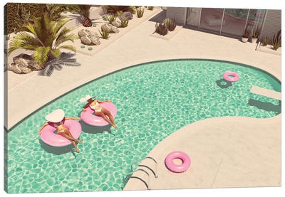 Women Swimming On Float In A Pool. 3D Rendering Canvas Art Print